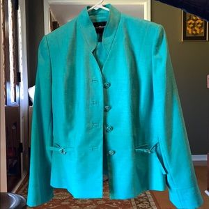 Sea foam green suit with blazer and skirt